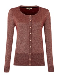 Biba Metallic Button Detail Knit Cardigan Port