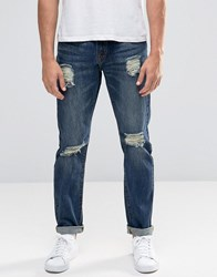 Always Rare Paint Splatter Slim Jeans Dark Wash Blue