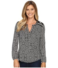 Lucky Brand Mixed Peasant Top Black Multi Women's Clothing