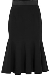 Dolce And Gabbana Fluted Stretch Wool Midi Skirt Black