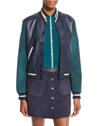 Rag And Bone Alix Leather Colorblock Varsity Jacket Navy