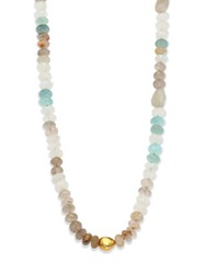Lena Skadegard Dunna Cielo Semi Precious Multi Stone And 18K Yellow Gold Beaded Strand Necklace Gold Multi