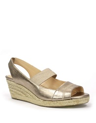 Ellen Tracy Kendall Wedge Sandals Champagne