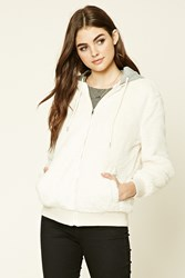 Forever 21 Hooded Faux Fur Jacket Cream