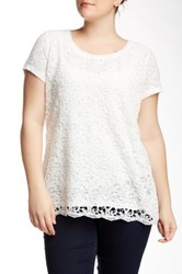 Halo Lace Front Blouse Plus Size White