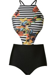 Osklen Striped And Floral Cut Out Swimsuit Black