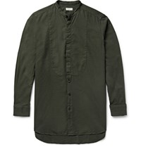 Dries Van Noten Grandad Collar Bib Front Cotton Shirt Army Green