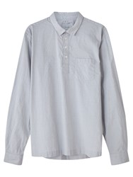 Jigsaw Linen Cotton Stripe Overhead Regular Fit Shirt Silver