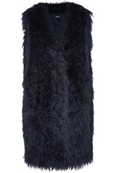 Dkny Oversized Faux Fur Gilet Midnight Blue