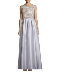 Aidan Mattox Beaded Bodice Taffeta Skirt Gown Gray