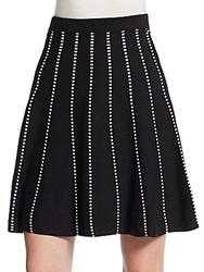 Saks Fifth Avenue Black Striped Swing Skirt Black Bleach