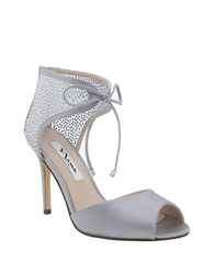 Nina Madge Lace Up Stiletto Peep Toe Shoes Silver