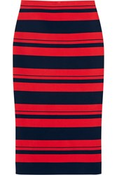 Dkny Striped Stretch Cotton Blend Midi Skirt
