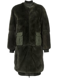 As65 Cargo Pocket Fur Coat Green