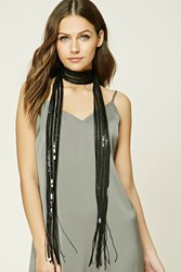 Forever 21 Sequined Oblong Scarf Black
