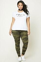 Forever 21 Plus Size Army Leggings Olive Black