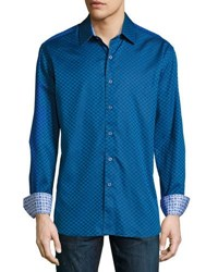 Robert Graham Delvin Woven Button Front Shirt Navy