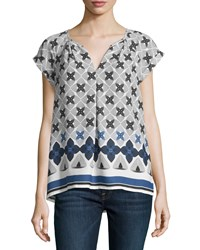 Max Studio Floral Split Neck Short Sleeve Blouse Blue Linear Flower