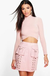 Boohoo Pocket Front Faux Suede Mini Skirt Blush