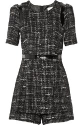 Milly Loulou Leather Trimmed Tweed Playsuit Black