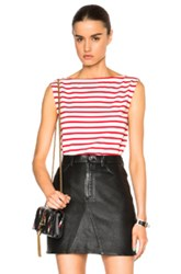 Saint Laurent Distressed Stripe Tank In White Red Stripes
