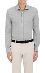 Luciano Barbera Men's Plaid Cotton Dress Shirt Grey