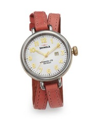 Shinola Birdy Two Tone Stainless Steel And Leather Double Wrap Watch Silver Pink