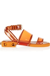 Givenchy Orange Plastic And Leather Flat Sandals