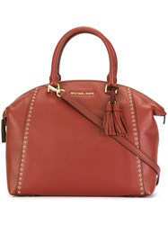 Michael Michael Kors Gold Tone Studded Detailing Tote Red