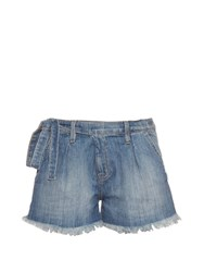Current Elliott The Pleated Paperbag Waist Denim Shorts Blue