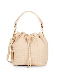 Badgley Mischka Clarissa Quilted Leather Bucket Bag Latte