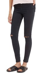 Topshop Moto 'Jamie' Ripped Ankle Jeans Regular And Short Black