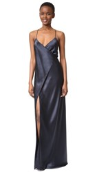 Michelle Mason Strappy Wrap Gown Midnight