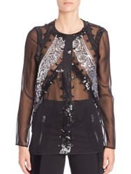 Altuzarra Long Sleeve Sequined Blouse Black