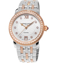 Frederique Constant Fc303whf2pd4b3 Rose Gold Plated Stainless Steel And Diamond Watch