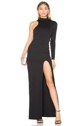 Donna Mizani One Sleeve Mock Neck Maxi Dress Black