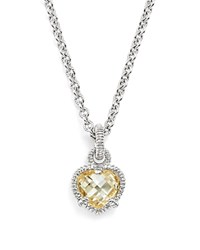 Judith Ripka Sterling Silver Heart Necklace With Canary Crystal 17 White Silver