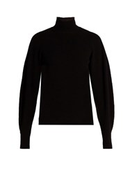 Thierry Mugler Exaggerated Sleeve Ribbed Knit Wool Blend Sweater Black