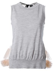 Muveil Tule Detail Tank Top Grey