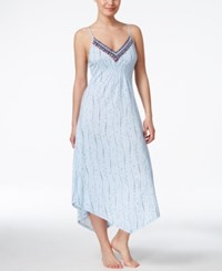 Lucky Brand Easy Breezy Asymmetrical Hem Nightgown Blue White Floral