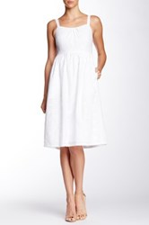 Adrianna Papell Eyelet Embroidered Midi Dress White