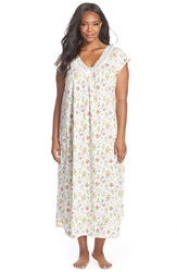 Carole Hochman Floral Print Cap Sleeve Long Nightgown Plus Size Floral Decor Ivory