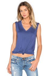 Feel The Piece Stone V Neck Tank Blue