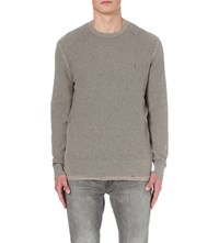 Allsaints Stein Open Stitch Crewneck Jumper Military Grey