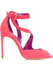 Brian Atwood Peep Toe Strappy Sandals Pink And Purple