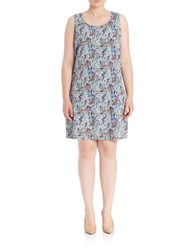 Junarose Plus Floral Tank Dress Pastel Blue Multi