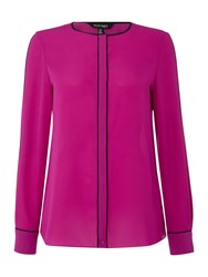 Ellen Tracy Long Sleeve Blouse With Pleat Front Detail Fuchsia