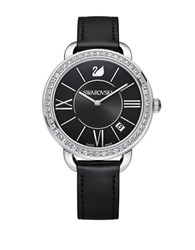 Swarovski Aila Day Pave And Stainless Steel Leather Strap Watch Black