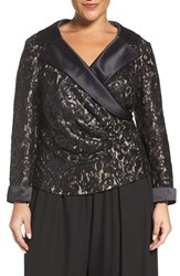 Alex Evenings Plus Size Women's Satin Collar Sequin Lace Blouse