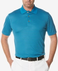 Pga Tour Men's Jacquard Stripe Golf Polo Methyl Blue